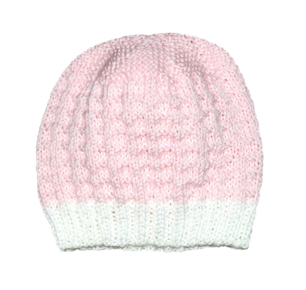Cappellino bambina 3 mesi lana bianco rosa  cba9e4668410
