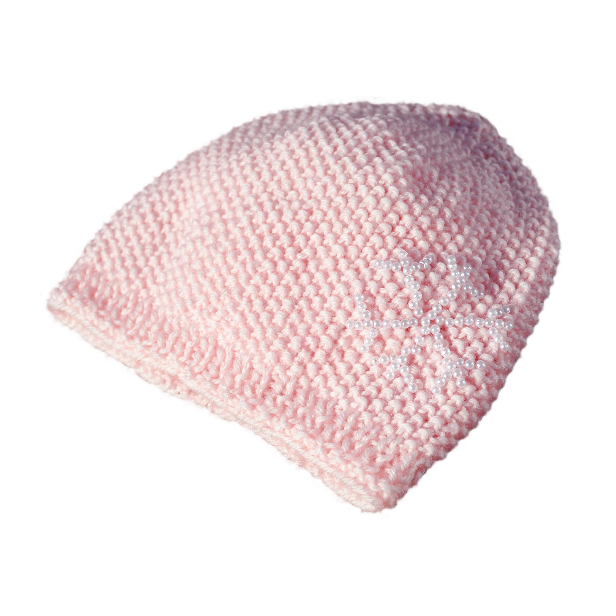 Cappellino bambina 3 mesi lana rosa chicco riso con decorazione ... dc3865dd026a