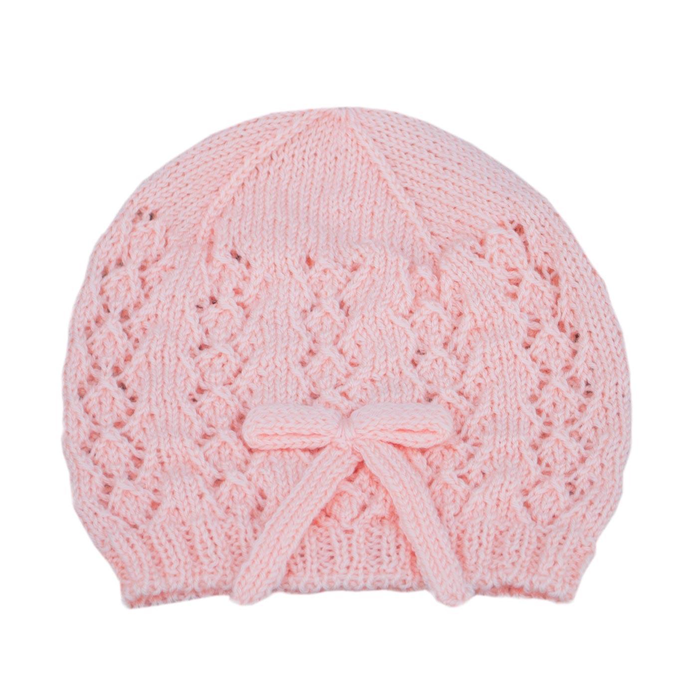 Cappellino bambina 3 mesi lana rosa  194a5e97ca7f