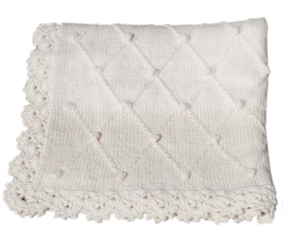 Copertina Lettino 100cm X 75cm Lana Colore Bianco E Panna Bimbi A