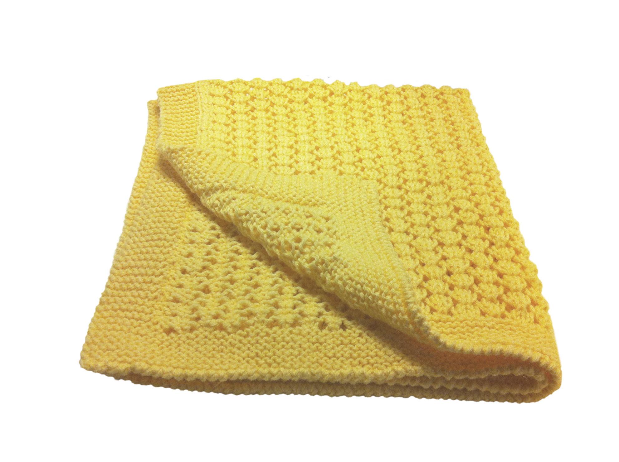 Copertina culla 65cm x 85cm lana colore giallo bimbi a for Culla azzurra