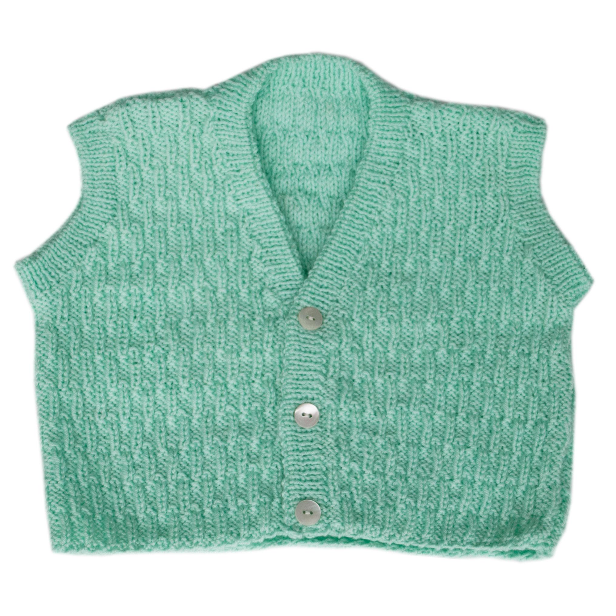 Top Gilet bambino 5 mesi lana fine verde mela | Bimbi A Colori CM37