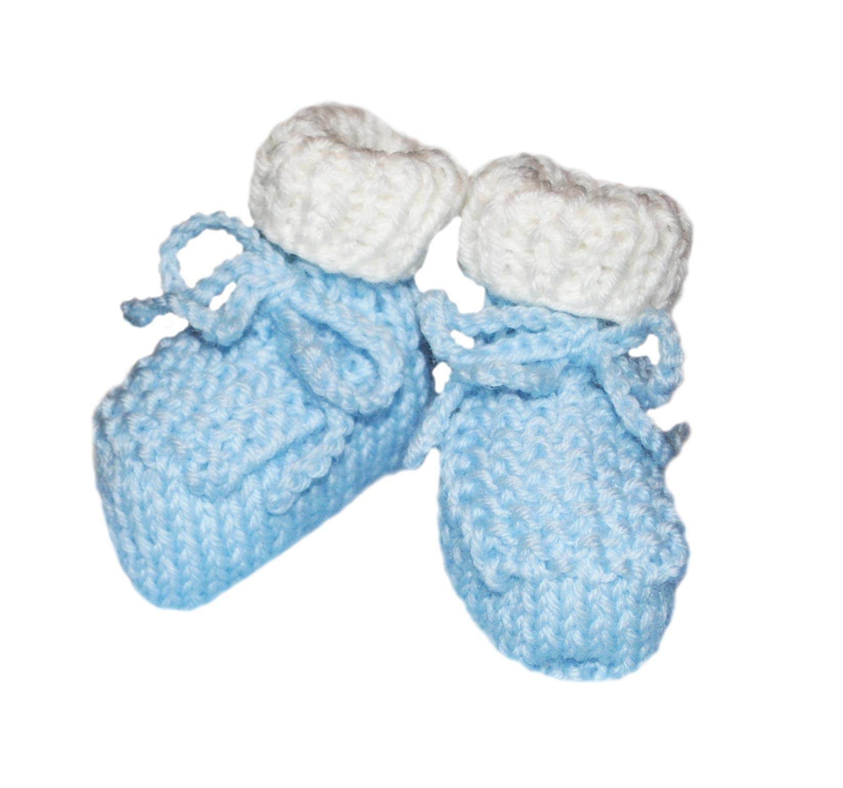 Scarpine neonato lana bianco azzurro chicco riso | Bimbi A Colori