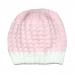 Cappellino bambina 3 mesi lana bianco rosa