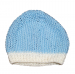 Cappellino neonato lana bianco azzurro chicco riso