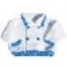 Giacchina bambino 3 mesi lana azzurro e bianco