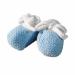 Scarpine neonato lana bianco azzurro punto legaccio personalizzate