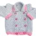 Giacchina bambina 18 mesi cotone rosa grigio chicco riso