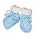 Scarpine neonato lana bianco azzurro chicco riso
